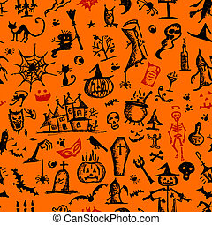 modèle, halloween, main, conception, dessiné, ton