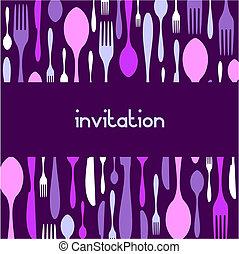 modèle, invitation., coutellerie, fond, violet