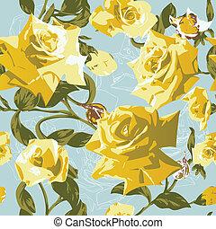 modèle, jaune, seamless, roses