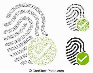 modèle, maille, empreinte doigt, icône, réseau, valide, mosaïque, vecteur, triangle