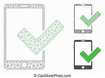 modèle, maille, icône, smartphone, réseau, mosaïque, valide, vecteur, triangle