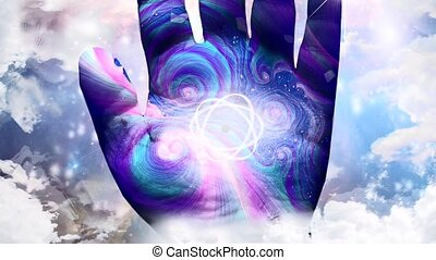 modèle main, atome, humain