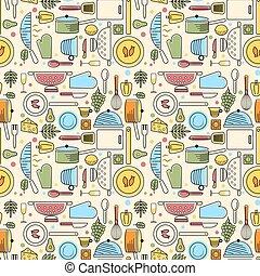 modèle, maison, seamless, cuisine, géométrique