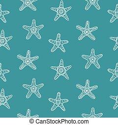 modèle, mer, étoiles, seamless