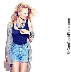 modèle, mode, girl, mode, isolé, style., rue, portrait., blanc, désinvolte