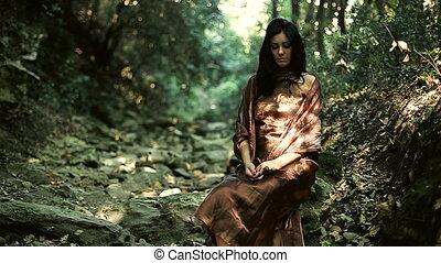 modèle, mode, poser, forêt