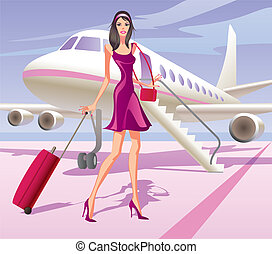 modèle, mode, voyager, air