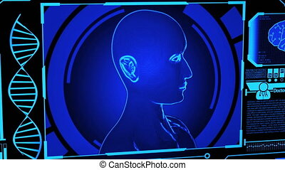 modèle, monde médical, humain, numérique, adn, rendre, plus, tourner, écran bleu, empreinte doigt, panning), couleur, (camera, futuriste, exposer, hud, inclure, cerveau, tête, 3d, balayage