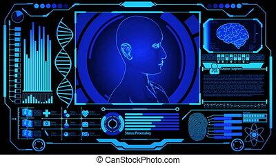 modèle, monde médical, humain, numérique, adn, rendre, plus, tourner, écran bleu, empreinte doigt, couleur, futuriste, exposer, hud, inclure, cerveau, tête, 3d, balayage
