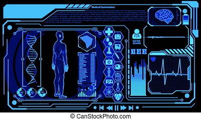 modèle, monde médical, humain, numérique, ensembles, rendre, plus, tourner, écran bleu, couleur, futuriste, exposer, hud, coeur, inclure, icône, cerveau, 3d, balayage, vague