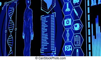 modèle, monde médical, humain, numérique, ensembles, rendre, plus, tourner, écran bleu, panning), couleur, (camera, futuriste, exposer, hud, coeur, inclure, icône, cerveau, 3d, balayage, vague