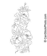 modèle, noir, vecteur, fleur, blanc