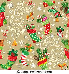 modèle, nouveau, fond, stockings., seamless, vacances, x-mas, noël, année, design.