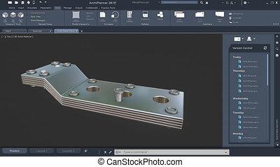modèle, objet, industriel, technique, composant, métallique