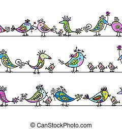 modèle, oiseaux, ton, seamless, conception, rigolote