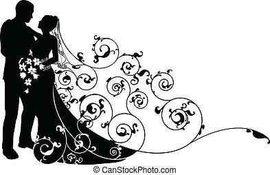 modèle, palefrenier, silhouette, fond, mariée