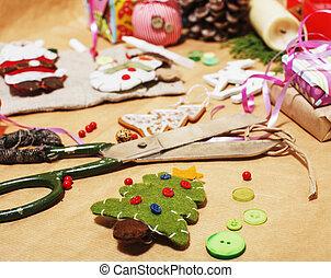modèle, papier, maison, prêt, fait main, ruban, vacances, personne, concept, ciseaux, campagne, dons, lot, remplir