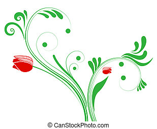 modèle, plante, fleur, rouges