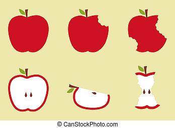 modèle, pomme, illustration, rouges