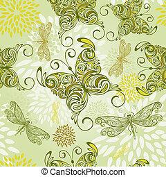 modèle, résumé, papillons, seamless, vecteur, fleurs, libellules