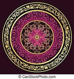 modèle, rond, gold-purple-vintage