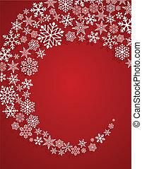 modèle, rouges, flocons neige, fond, noël