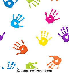 modèle, seamless, coloré, handprints