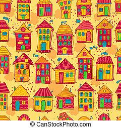 modèle, seamless, coloré, maisons