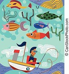 modèle, seamless, illustration, conception, bizarre, pêcheur