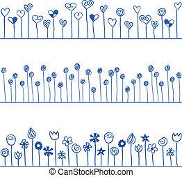 modèle, seamless, illustration, ligne, cœurs, fleurs