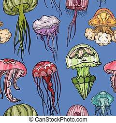 modèle, seamless, jellyfish.