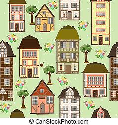 modèle, seamless, maisons