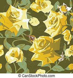 modèle, seamless, roses jaunes