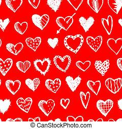 modèle, seamless, valentin, conception, cœurs, ton