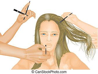 modèle, stylistes, mains