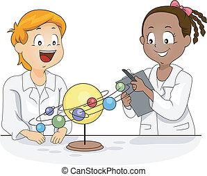 modèle, système, solaire