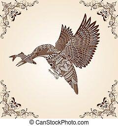 modèle, thaï, oiseau, vecteur, martin-pêcheur