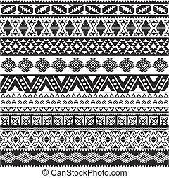 modèle, tribal, -, seamless, aztèque, arrière-plan noir, blanc