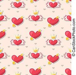 modèle, valentines, seamless, jour, cœurs