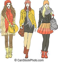 mode, élégant, filles, chaud, vecteur, vêtements