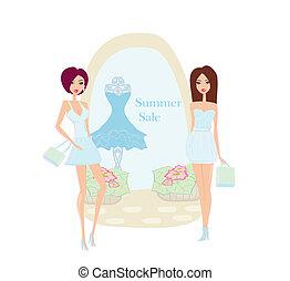mode, achats, été, -, vente, filles