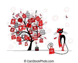 mode, achats, arbre, saison, vente, chat, sac, conception, ton