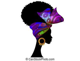 mode, africaine, ankara, hairstyles., isolé, portrait, vecteur, turban, écharpe, traditionnel, tribal, bouclé, shenbolen, women., afro, conception, usures, headwrap, bandana, femme, tissu, texture., headtie, blanc