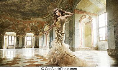 mode, art, photo, jeune, amende, intérieur, élégant, dame