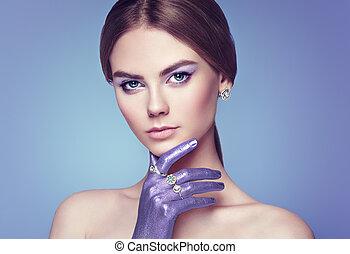 mode, beau, jeune, portrait, femme, bijouterie