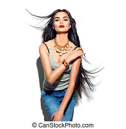 mode, beauté, directement, voler, longs cheveux, modèle, girl
