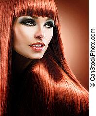 mode, beauté, hair., modèle, long, sain, rouges, directement