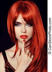 mode, beauté, sain, directement, isolé, long, femme, model., hair., sexy, black., rouges, secret.
