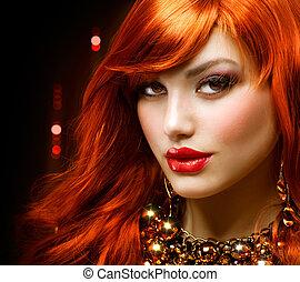 mode, bijouterie, chevelure, portrait., girl, rouges