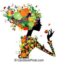 mode, cheveux, conception, fruits, girl, ton
